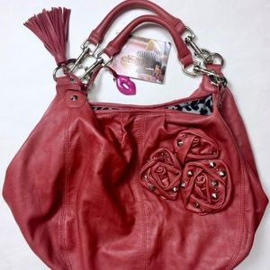 Betsey Johnson Red Leather Hobo Studded Rose Purse